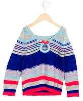 Little Marc Jacobs Girls' Bow-Embellished Striped Sweater w/ Tags