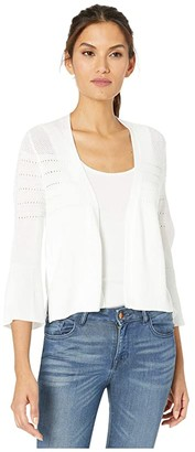 Tribal 3/4 Sleeve Crop Sweater Cardigan (White) Women's Clothing
