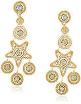 Miguel Ases Large Star Bright Swarovski Chandelier with Circular Stations Drop Earrings