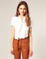ASOS Short Sleeve Pussybow Cotton Blouse
