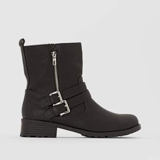 La Redoute Collections Plus Wide Fit Faux Leather Biker Boots with Chunky Block Heel