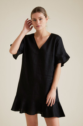 Seed Heritage Linen Flutter Sleeve Dress