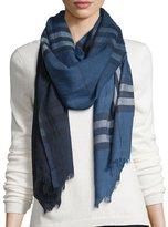 Burberry Ombre Giant Check Wool/Silk Gauze Scarf, Blue