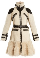 Alexander McQueen High-neck leather-trimmed shearling coat