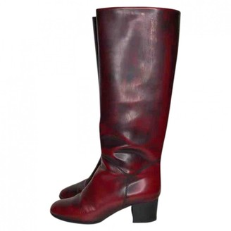 Chanel \N Red Leather Boots