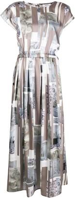 Peserico collage-print midi dress