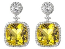 A&M A & M Silver-Tone Light Yellow Square Earrings