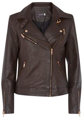 Mint Velvet Brown Leather Biker Jacket