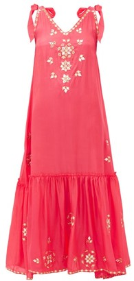 Juliet Dunn Mirror-embellished Silk Dress - Womens - Pink