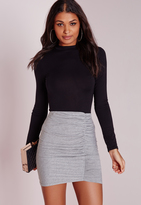 Missguided Petite Ruched Mini Skirt Grey