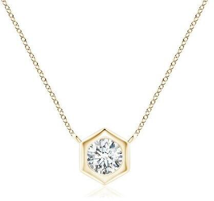 Natori Indochine 14k Hexagon Frame Diamond Solitaire Necklace