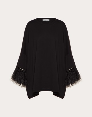 Valentino Feather Embroidery T-shirt Women Black 100% Cotone L