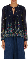 Sea Women's Ruffled Cotton-Silk Chiffon Blouse-NAVY