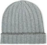 Brunello Cucinelli Contrast-trim Ribbed Cashmere Beanie Hat