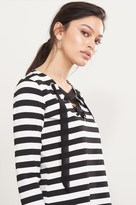 Dynamite Striped Lace-Up Sweatshirt