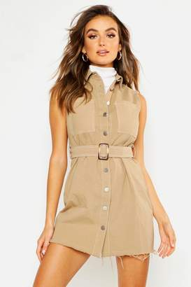 boohoo Cotton Twil Contrast Stitch Shirt Dress