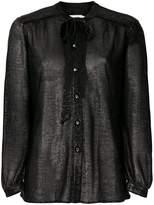 Coach tie-neck metallic blouse