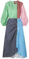 Tibi Delphina Ruched Striped Silk-twill Midi Dress - Green