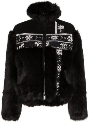 Sacai faux-fur Fair Isle jacket