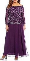 J Kara Plus Sequined Cowl Neck Gown
