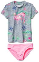 Flamingo rashguard swim two-piece