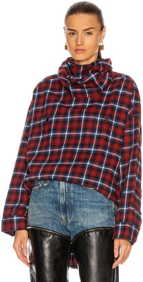R 13 #Maskup Oversized Flannel Workshirt in Red & Blue | FWRD