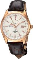 Orient Men's 'Polaris GMT' Japanese Automatic Stainless Steel and Leather Dress Watch, Color:Brown (Model: FDJ05001W0)