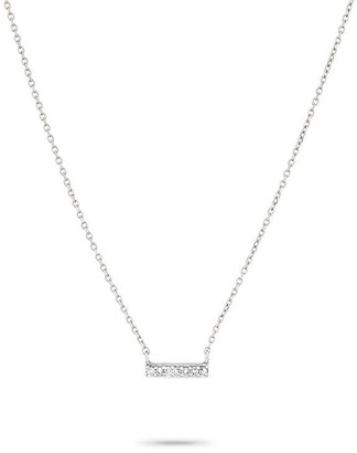 Adina Super Tiny Pave Bar Necklace in White Gold