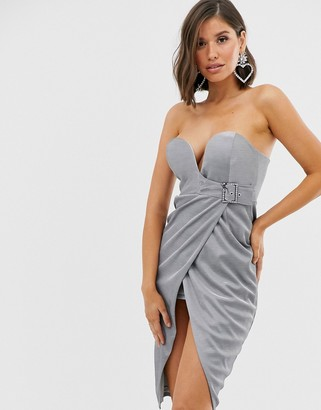 Rare buckle wrap front midi dress in silver
