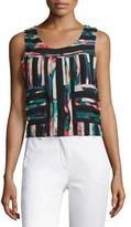 Nicole Miller Raw Edge Floral Tropical Tank, Black Multi