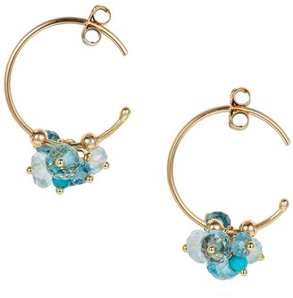 Sweet Pea Blue Topaz and Turquoise Pogo Punk Cluster Hoop Earrings - Yellow Gold