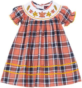 Lil Cactus Girls' Casual Dresses - Light Orange Tartan Leaf Bishop Dress - Toddler