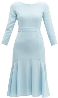 Goat Iris Fluted Wool-crepe Midi Dress - Light Blue