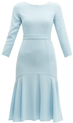Goat Iris Fluted Wool-crepe Midi Dress - Womens - Light Blue