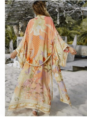 FS Collection Relaxed Kimono In Orange Mermaid Floral
