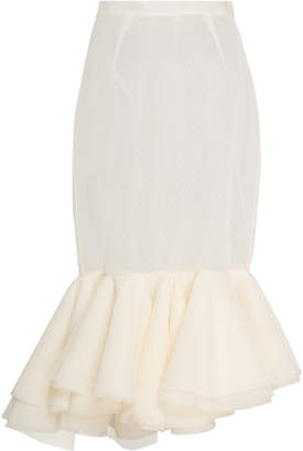 Brock Collection Passiflora Fitted Dotted Tulle Trumpet Skirt