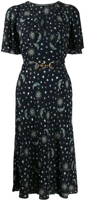 Alberta Ferretti Star-Print Toggle Detail Dress