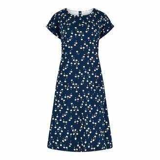 Weird Fish Tallahassee Printed Jersey Dress Maritime Blue Size 10