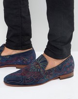Jeffery West Martini Embroidered Suede Loafers
