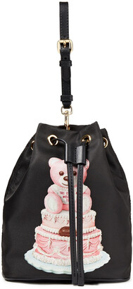 Moschino Leather-trimmed Printed Shell Bucket Bag