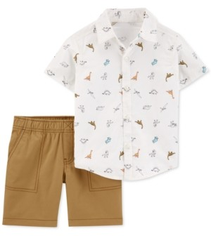Carter's Toddler Boys 2-Pc. Cotton Dinosaur Shirt & Canvas Shorts Set