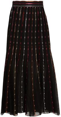 Alexander McQueen Metallic Crochet-knit Silk-blend Midi Skirt
