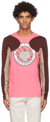 Marine Serre Pink and Burgundy Jersey Long Sleeve T-Shirt