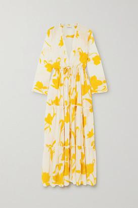 Evarae Taila Ruffled Floral-print Silk Crepe De Chine Robe - White