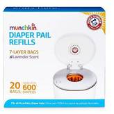 Munchkin Arm & Hammer Diaper Pail Snap, Seal and Toss Refill Bags, 600 Count,...