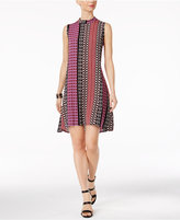 NY Collection Petite Printed Mock-Neck High-Low Dress