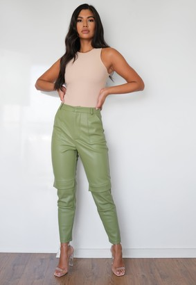Missguided Premium Khaki Faux Leather Pocket Trousers