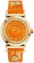 Versace Vanity Round Watch w/ Leather Strap, Golden/Orange
