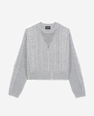 The Kooples Ripped grey cashmere and wool sweater