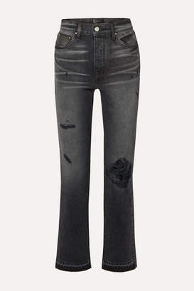 Amiri Cropped Leather-paneled Distressed High-rise Straight-leg Jeans - Black